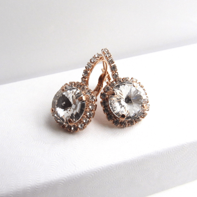 WE12-rose gold earrings with rhinestones