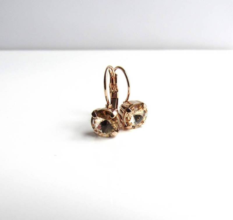 -champagne crystal rose gold earrings