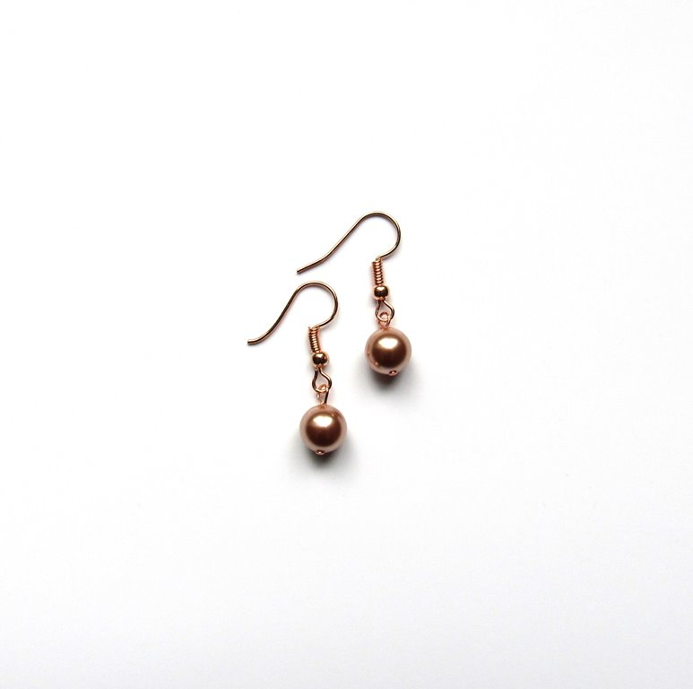 -Rose gold pearl dangle earrings