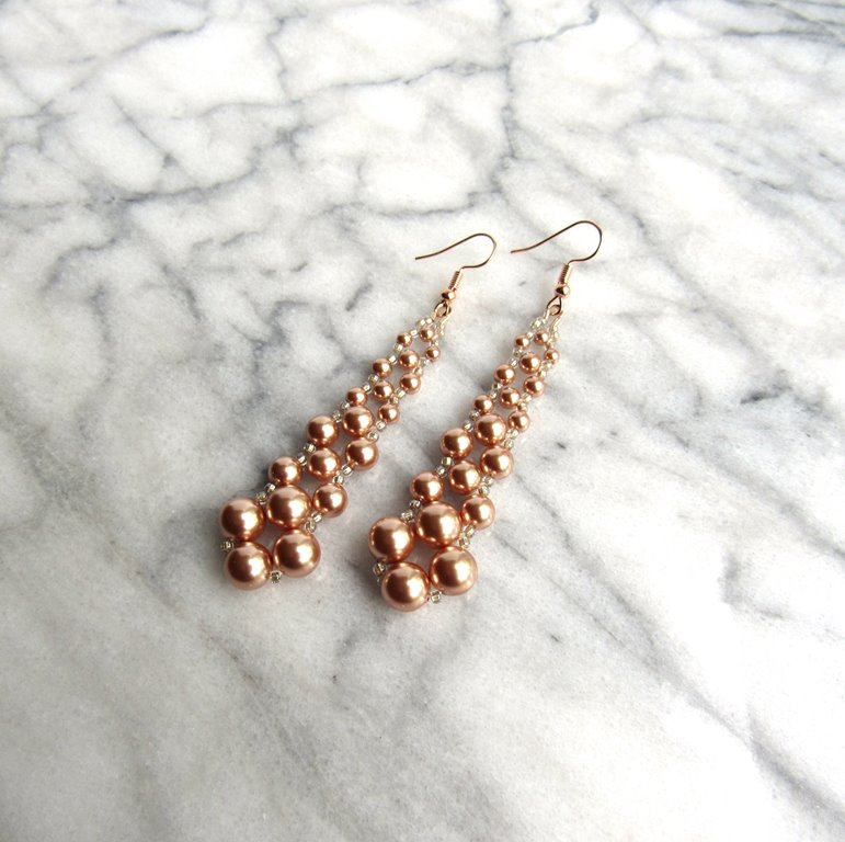 WE7-long dangle earrings rose gold