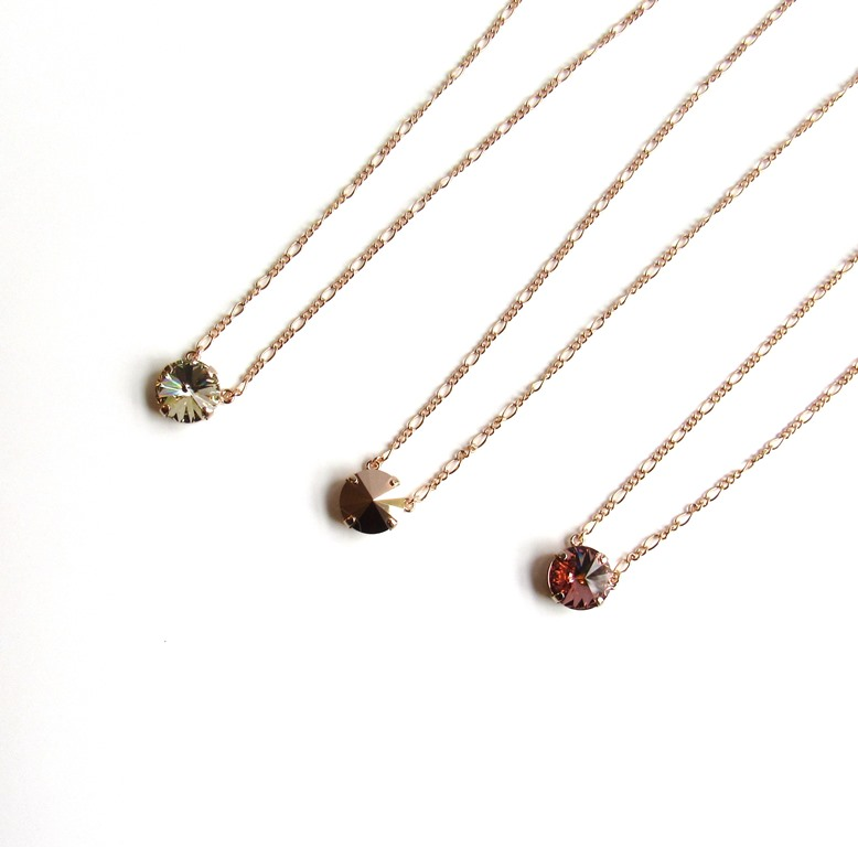 WN31-1-rose gold single stone necklace