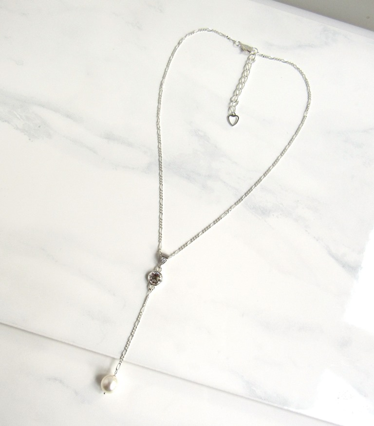 WN33- SILVER LARIAT NECKLACE WITH PEARL DROP