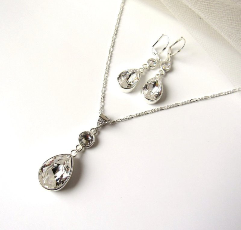 WS16-swarovski crystal tear drop pendant necklace and earring set