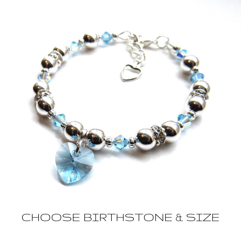 PB16-crystal_heart_bracelet-birthstone bracelet for little girls
