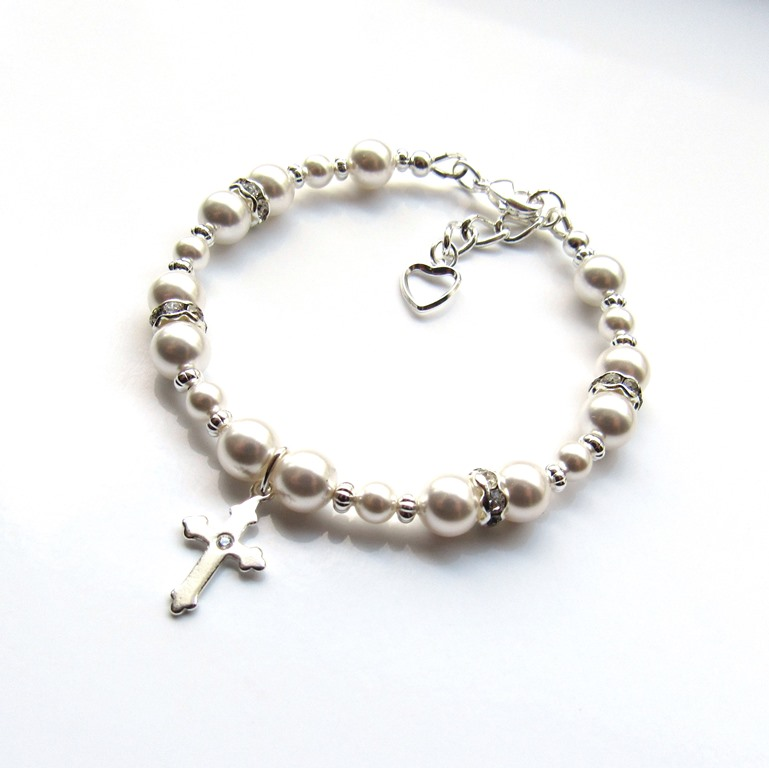 PB20-girls pearl bracelet with cross charm