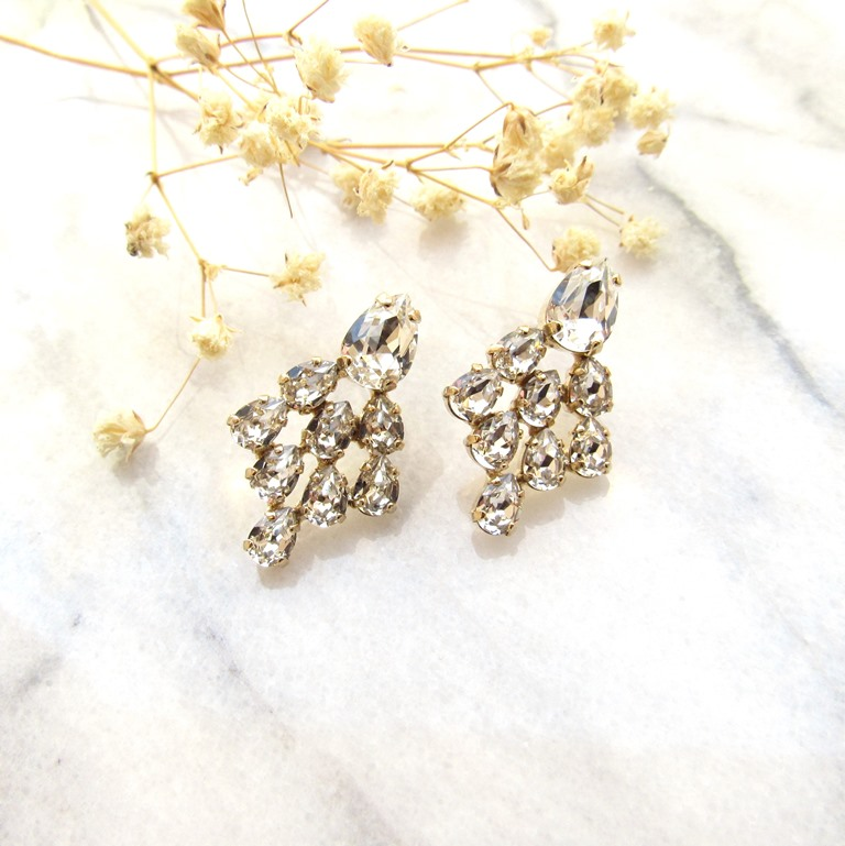 -swarovski-clear-crystal-cluster-earrings gold