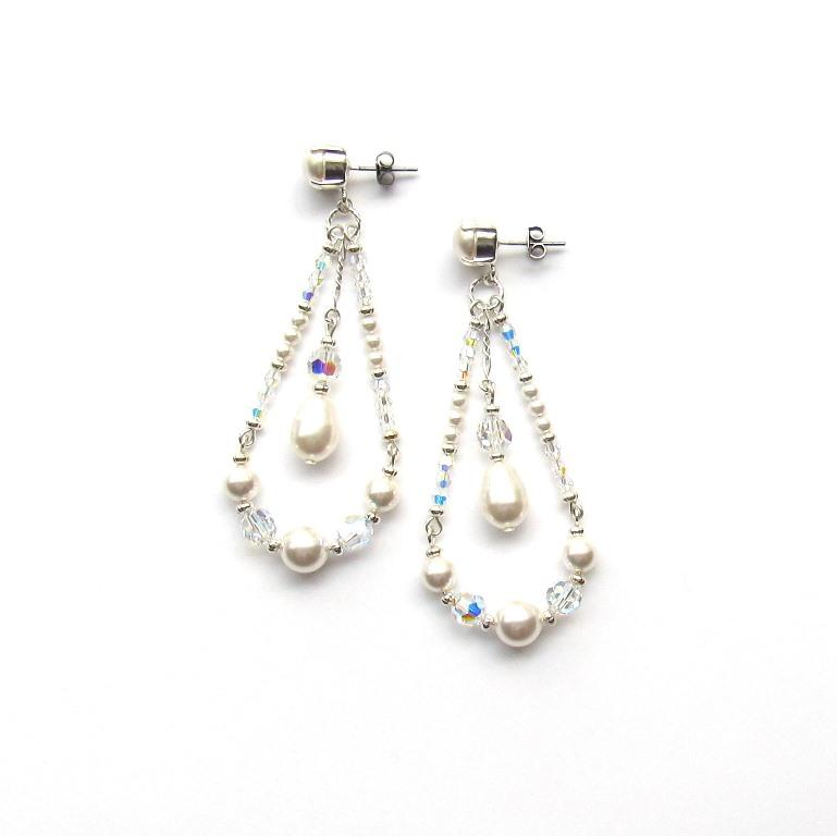 WE22- Statement pearl earrings dangle long