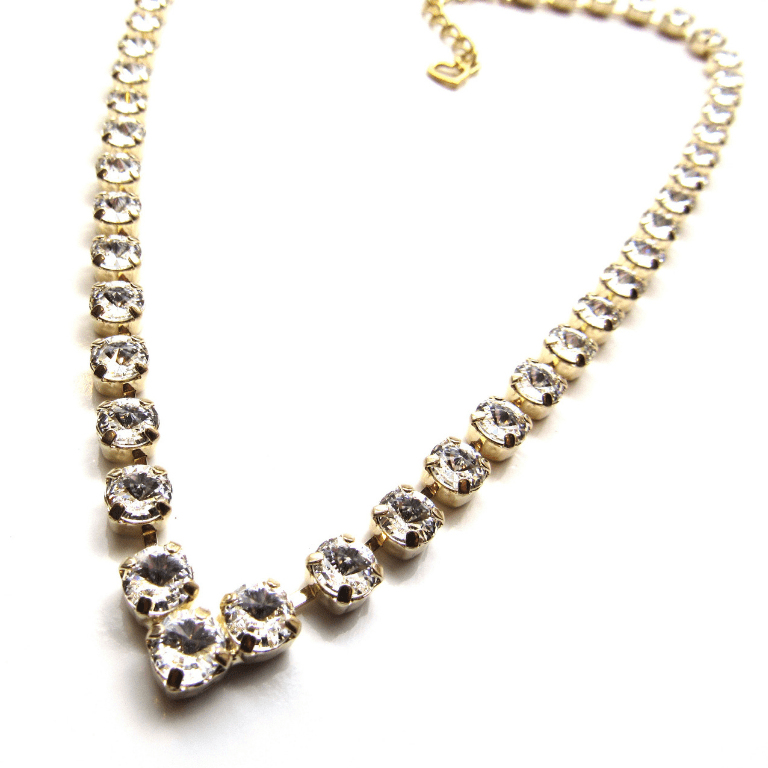 WN36-4 Crystal Rhinestone gold V Shaped Necklace