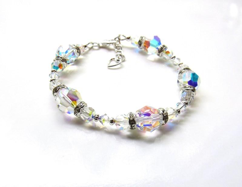 wb23-1 Swarovski Crystal Bracelet Aurora Borealis Bracelet Wedding Jewelry