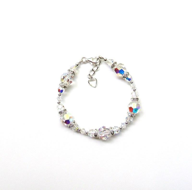 wb23-2 Swarovski Crystal Bracelet Aurora Borealis Bracelet Wedding Jewelry