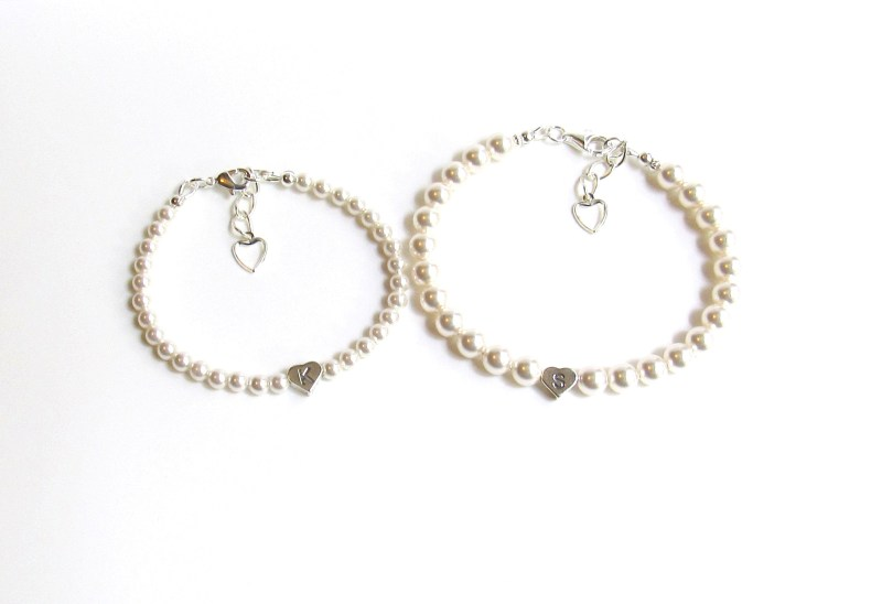 Mother Daughter Bracelet Set Pearl Personalized Heart Shaped Charm