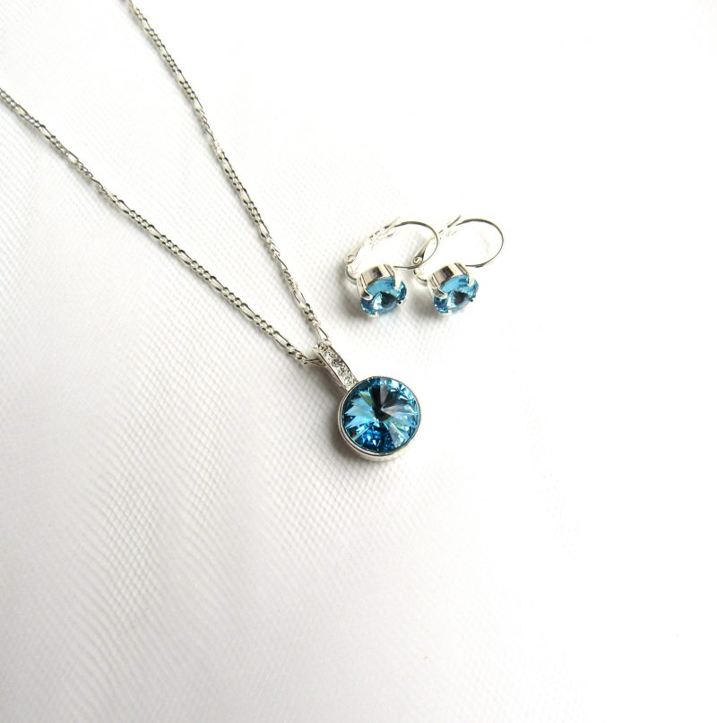 march birthstone aquamarine pendant necklace and earring set