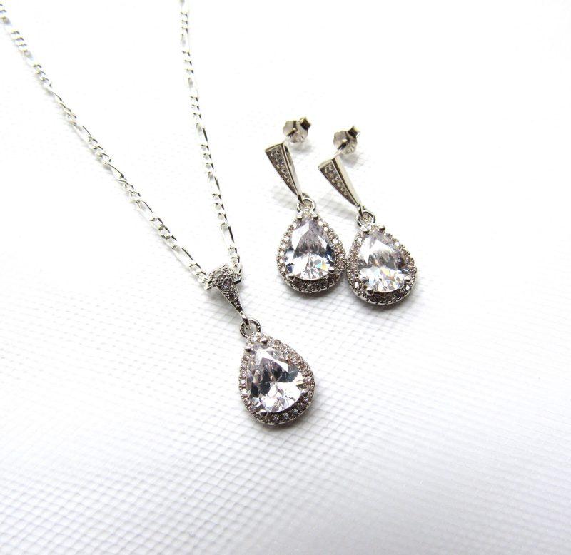 Teardrop CZ pendant and earring set sterling silver