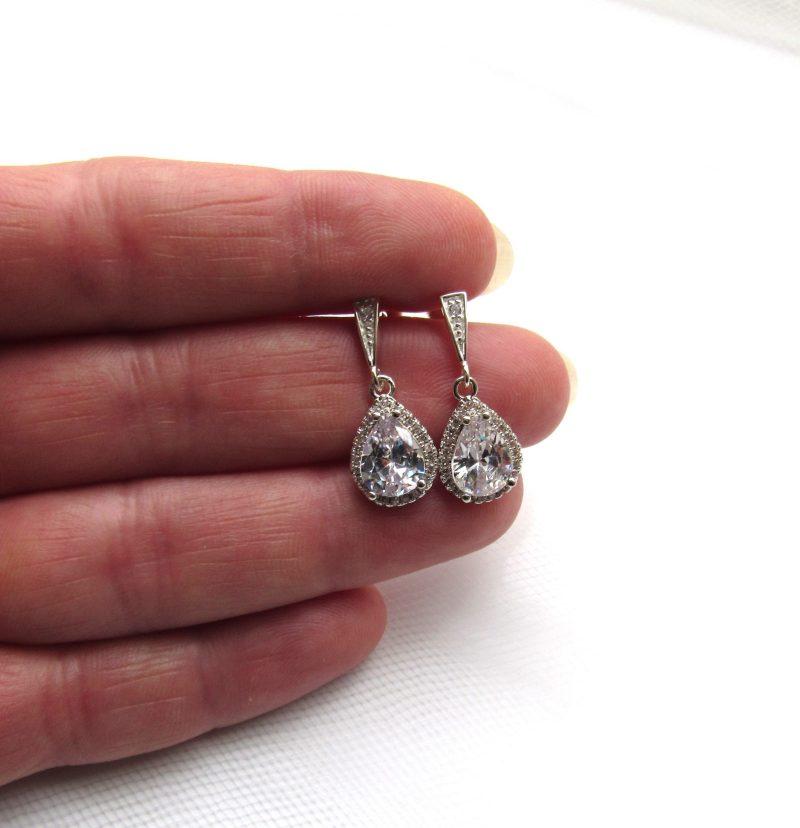 teardrop cz earrings sterling silver