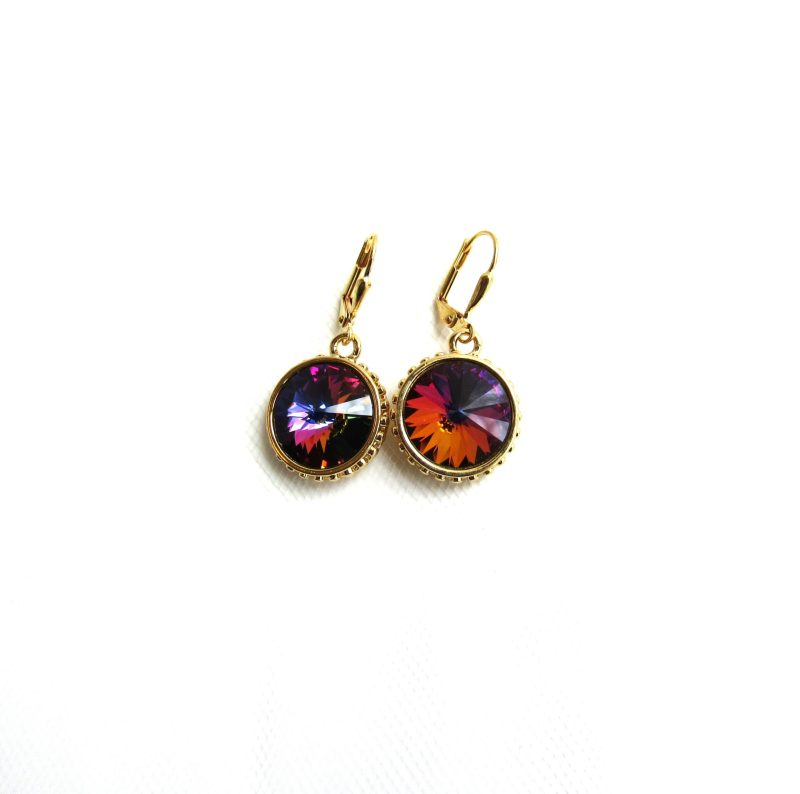 gold swarovski crystal volcano drop earrings
