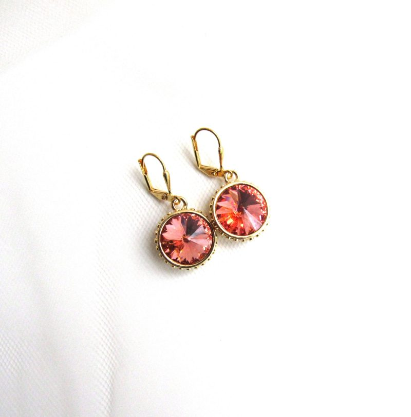 gold swarovski crystal rose peach drop earrings