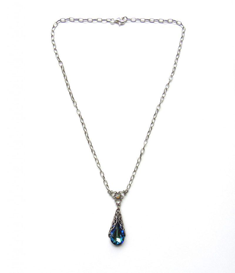 swarovski crystal bermuda blue teardrop pendant