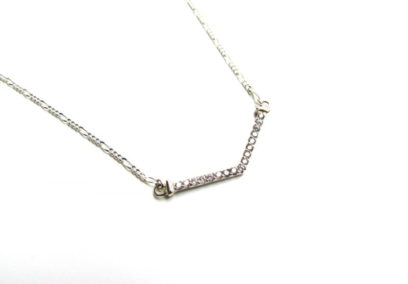 sterling silver v shaped cubic zirconia necklace