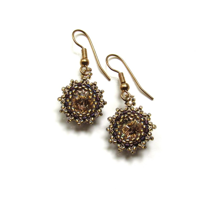 antique gold swarovski crystal golden shadow flower earrings handwoven