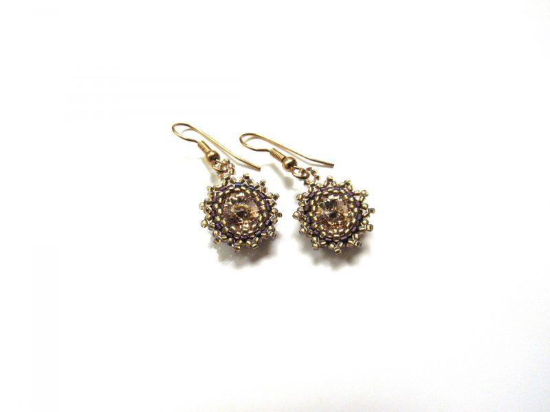 antique gold swarovski crystal golden shadow flower earrings handwoven