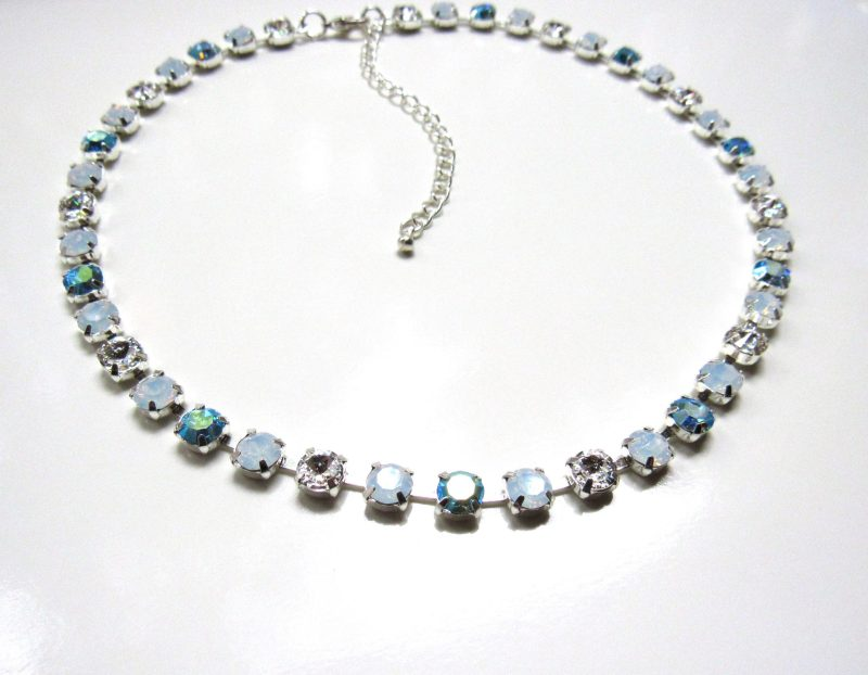 Opal turquoise swarovski crystal necklace silver