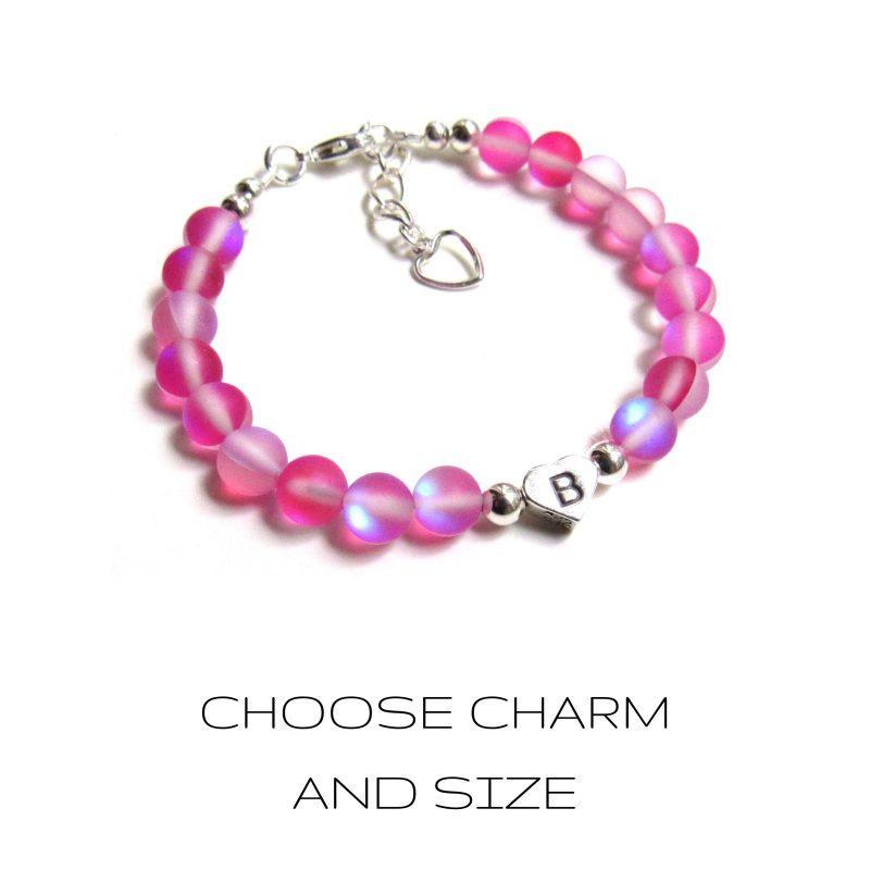 pink mermaid glass bracelet