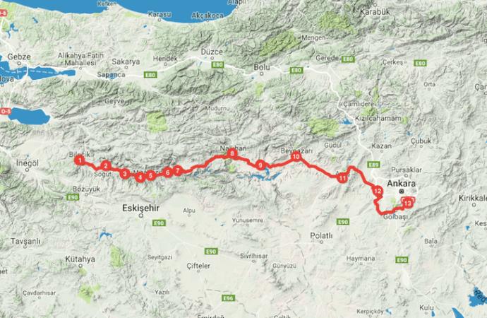 Bilecik Ankara Bisiklet Rotası (154-455 Km)