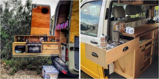 arkasından mutfak çıkan karavan dizaynı