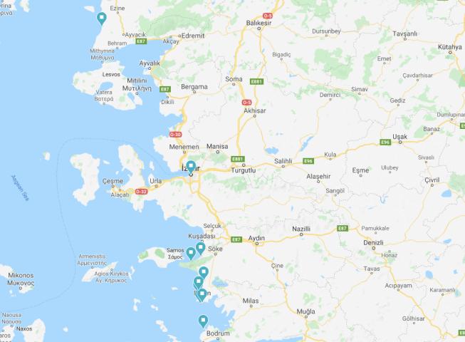 Karavanla Ege turu rotası haritası