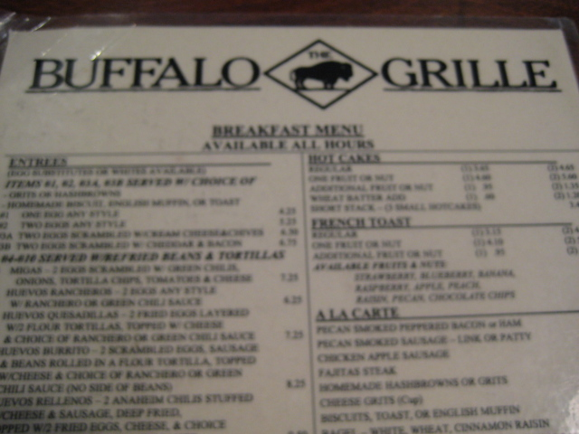 Buffalo Grille | Houston, Texas | Menu