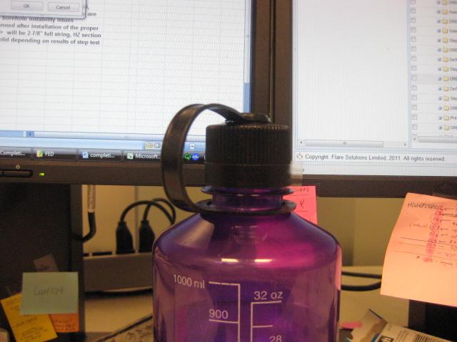 Water Bottle Blocking Work Clock