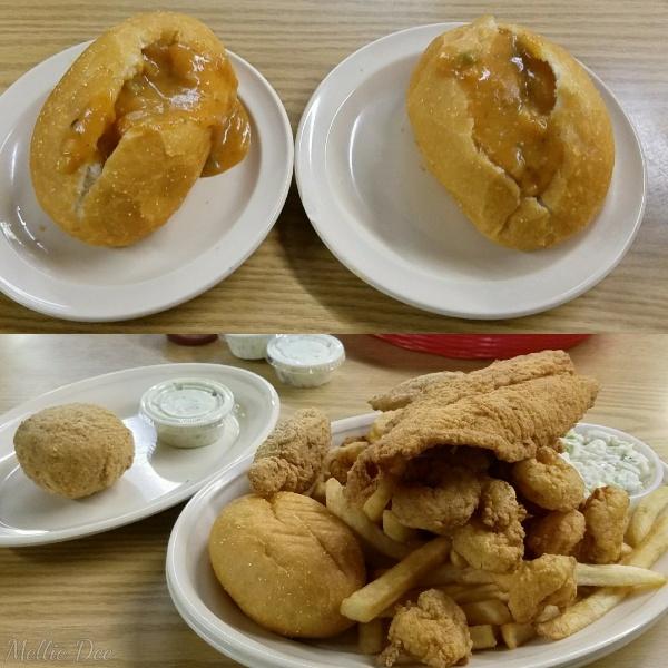 Steamboat Bill's Seafood Restaurant   Lake Charles, Louisiana   Shrimp & Crawfish Pistolettes, Boudin Ball, & Small Platter