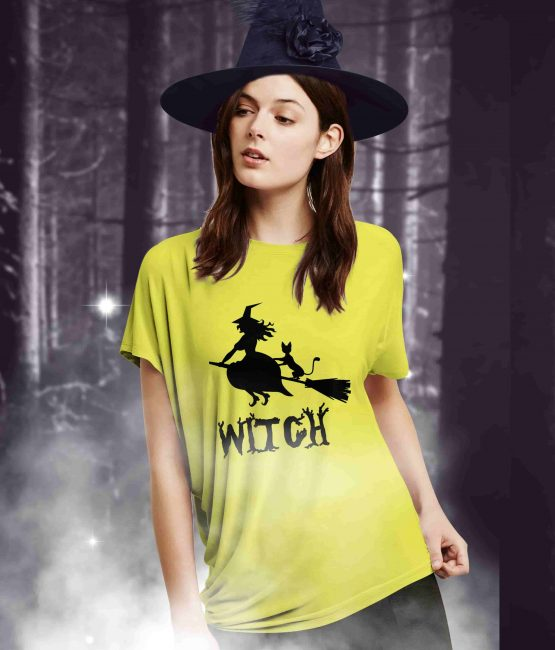 Witch On Broom Halloween T-Shirt