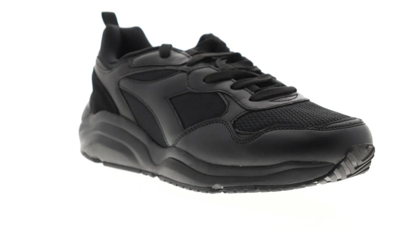 Diadora Whizz Run 174340-C0199 Mens Black Leather Lifestyle Sneakers Shoes