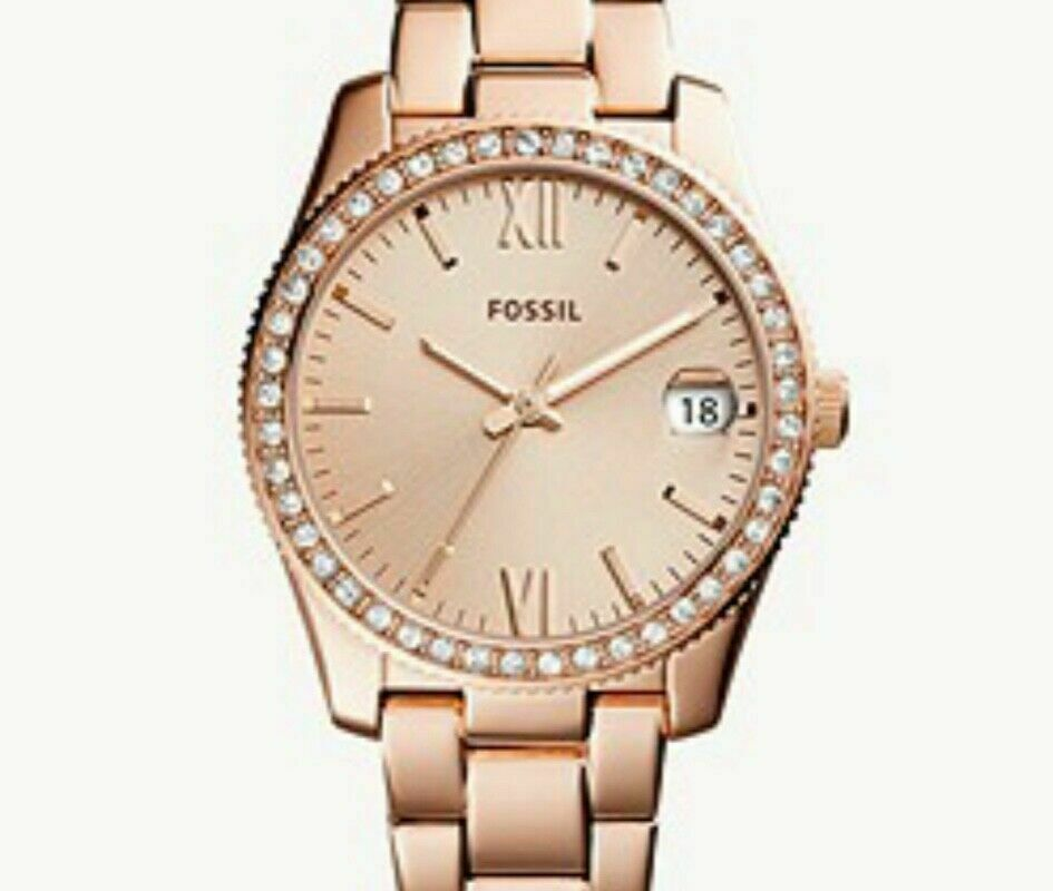 Fossil Ladies' Scarlette Three-Hand Date Rose Gold Stainless Steel Watch ES4318
