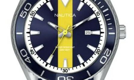 NEW 79.99 Nautica Men's Cruise 44mm Blue and White Dial Silicone Watch NAPNAI809