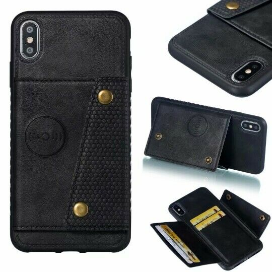 Phone Case Card Holder for iPhone 12 11 Pro Max XR X Car Magnetic Holder Wallet