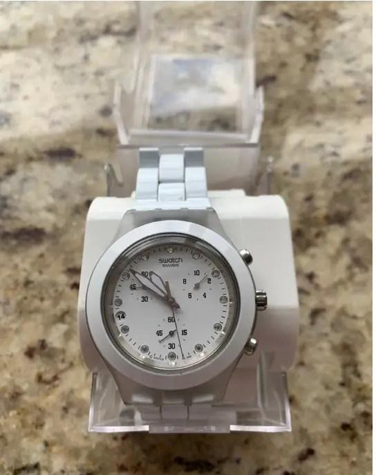 Swatch Chronograph White Dial White Plastic Quartz Ladies Watch SVCK4045AG