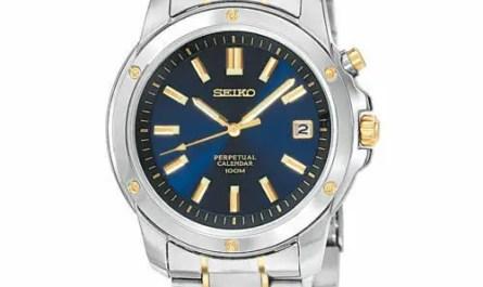 Seiko Men's SNQ010 Dress Perpetual Calendar Quartz Blue Dial Two-Tone Watch