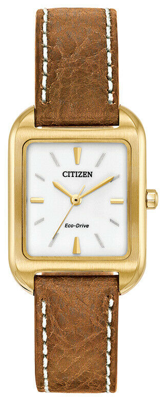 Citizen Eco-Drive Women's Gold Tone Case Brown Leather 23mm Watch EM0492-02A