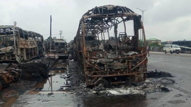13 luxury commercial buses gutted by fire in Onitsha