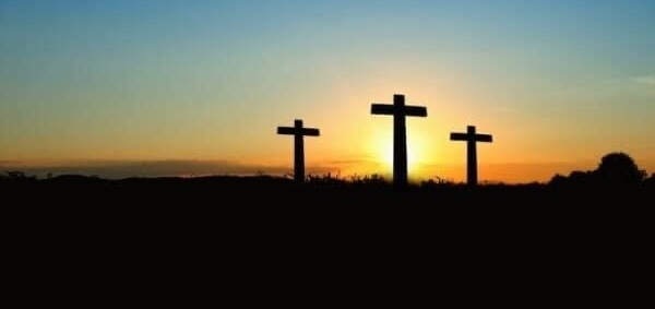 crosses in sunset