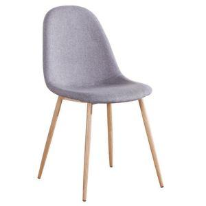CELINA καρέκλα Μεταλλική Φυσικό/Ύφασμ.Γκρι