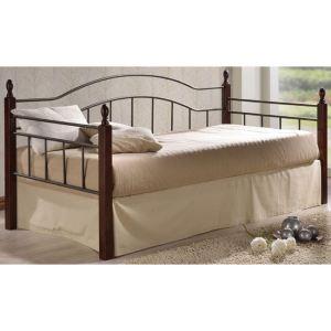 VINCENT Daybed κρεβάτι μονό Μέταλλο μαύρο/Ξύλο καρυδί