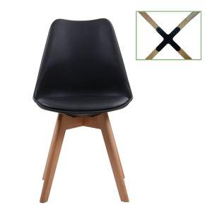 MARTIN καρέκλα Metal cross Ξύλο/PP Μαύρο/Μοντ.ταπετσαρία