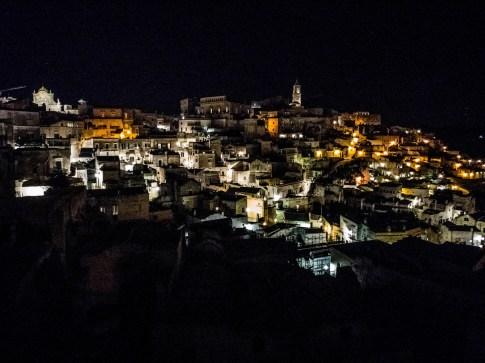 Panorama de Matera la nuit