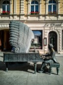 Piotrkowka, Lodz : statue d'Arthur Rubinstein