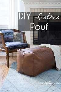 Leather Pouf Ottoman - Melly Sews