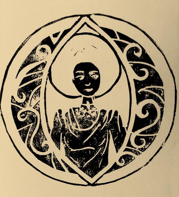 Linogravure femme et cercle, Assilem décors, peintre en décor Bordeaux, décoration intérieure, peinture décorative