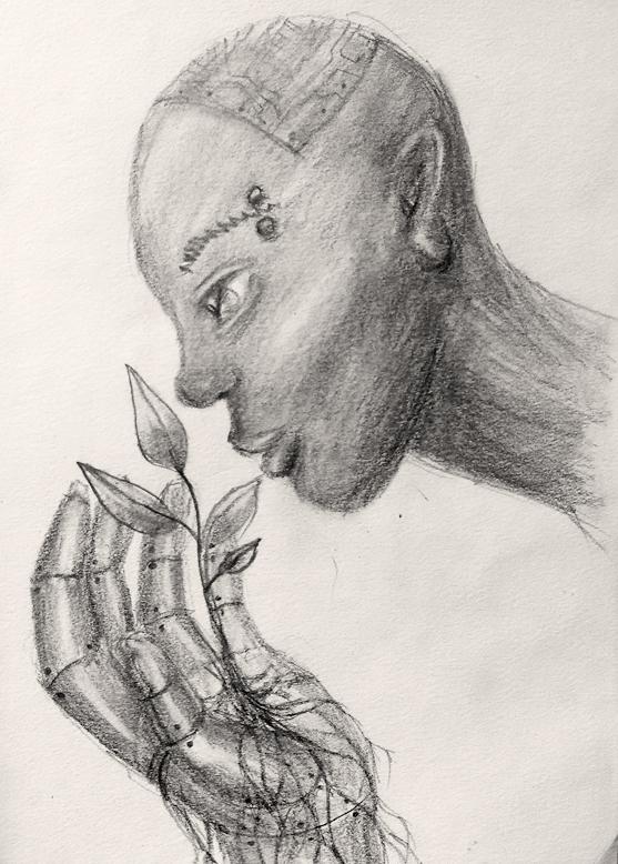 Illustration Femme et robot, crayons gris, Assilem décors, peintre en décor Bordeaux, décoration intérieure, peintre décorateur
